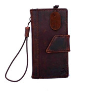 genuine vintage leather case for iphone 5 SE book wallet closure cover stand holder cards slots slim dark brown classic daviscase
