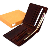 Men Money Genuine Leather wallet Billfold slim Design CASE Money Clip retro uk