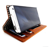genuine natural leather case for HTC one m7 book wallet cover m 7  stand new