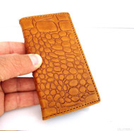 Genuine natural leather brown color iPhone 5 5s case cover with wallet credit card holder crocodile model ru