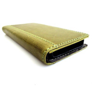 genuine vintage real leather slim case for iphone 5c 5 c 5s cover book wallet handmade s green