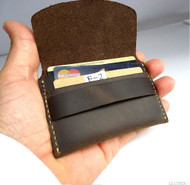 Genuine full Leather man mini wallet Money credit cards holder pocket Minimal brown