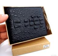 Men Money Genuine vintage cow Leather wallet Coin Pocket Purse crocodile black Ta