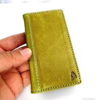 genuine full leather Case for Samsung Galaxy Note 3 book wallet handmade green R