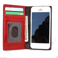 genuine real leather case for iphone 5 s cover book wallet stand holder red With flowers inside
