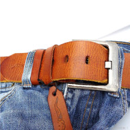 Genuine buffalo Leather belt 43mm men womens Waist handmade classic bright brown size S retro