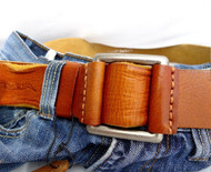 Genuine full Leather belt 43mm mens womens Waist handmade classic bright brown 60's p size L