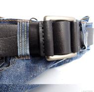 Genuine full Leather belt 43mm mens womens Waist handmade classic 60' s b black size XL