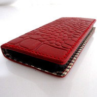 genuine retro leather case for iphone 5 5s book wallet cover new handmade crocodile Model red wine