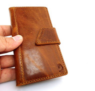 genuine oil leather vintage Case for HTC ONE book wallet handmade m7 skin TA