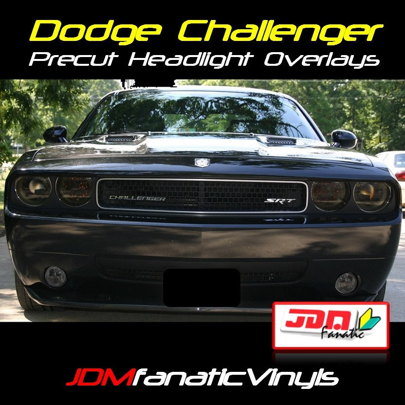 2008 2012 dodge challenger precut head light overlays tint. Black Bedroom Furniture Sets. Home Design Ideas