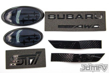 "HOLIDAY GIFT PACK - GLOSS black STI, SUBARU Symmetrical AWD, GLOSS black fender, BLACK front/rear emblem ""stars"" (2015+ STI)"