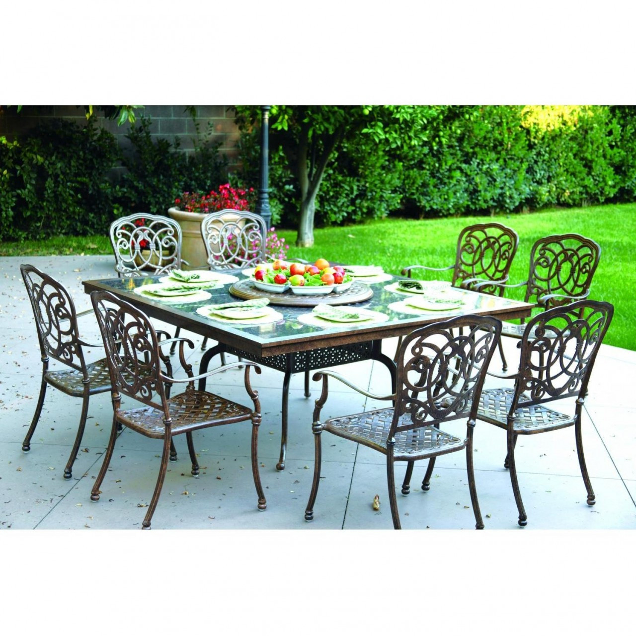 darlee florence patio furniture dining set granite top