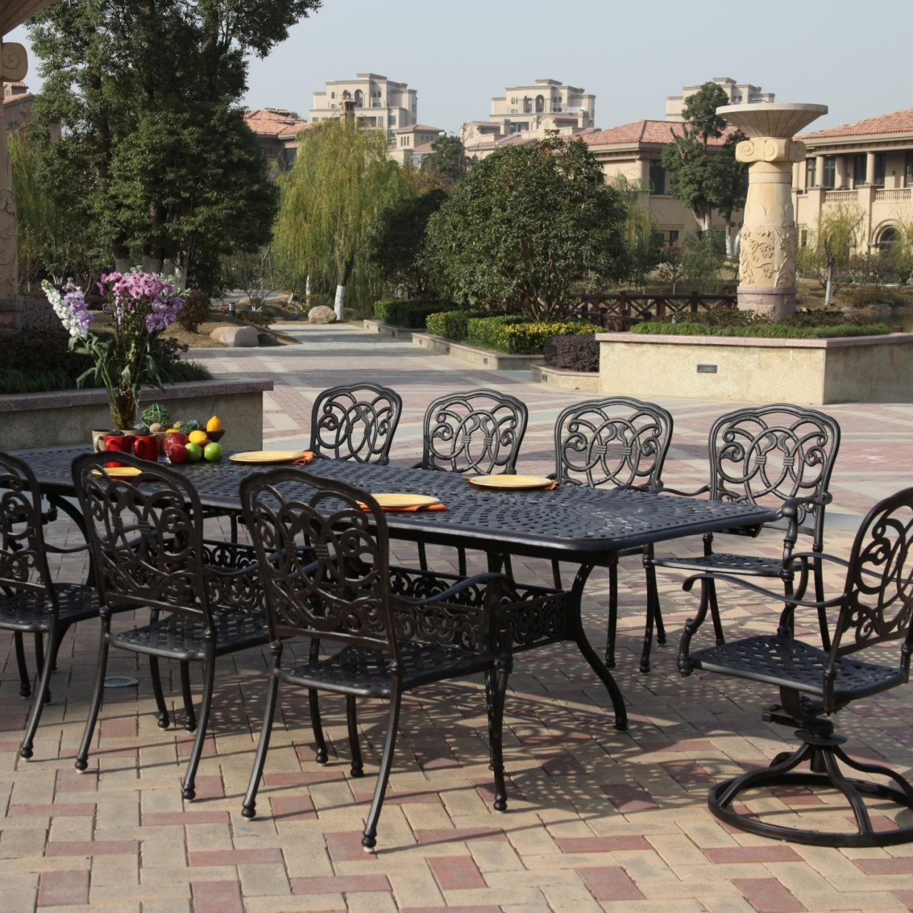 darlee florence patio furniture dining set seats 10