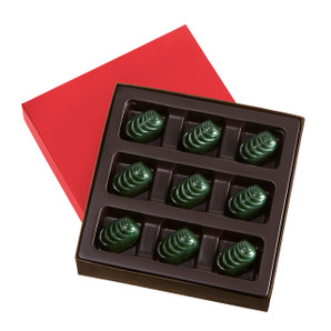 ALMOND GREEN HOLIDAY CARAMELS Nine Pieces
