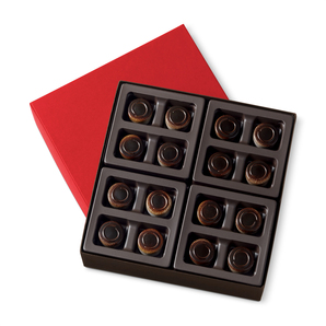 Smooth dark chocolate coffee ganache comes together with a layer of creamy mascarpone in a dark chocolate shell.