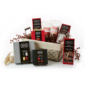 Basket Includes:  VARIETY HOLIDAY CARAMELS Nine Pieces, HOT CHOCOLATE, ORIGINAL BUTTERY TERRAPIN Four Pieces, VARIETY RARE FACETS Four Pieces, HAZELNUT TOFFEE BARK Four Ounces, MILK TOFFEE BARK Four Ounces, Sweet Treats Spiced Almonds, Sweet Treats Spiced Pecans and Twelve Candy Canes