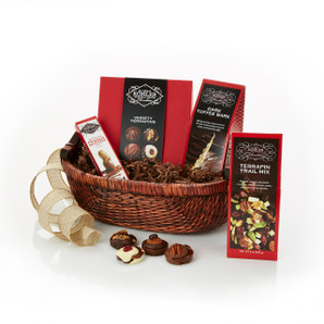 Basket Includes:  VARIETY TERRAPINS Nine Pieces, TERRAPIN TRAIL MIX Eight Ounces, DARK TOFFEE BARK Four Ounces and MILK CHOCOLATE PEANUT BUTTER One and One Half Ounces
