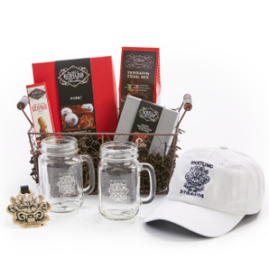 Basket Includes: FORE! Gift Set, DARK MOUNTAIN TOFFEE Four Pieces, MILK CHOCOLATE PEANUT BUTTER One and One Half Ounces, TERRAPIN TRAIL MIX Eight Ounces, Whistling Straits Hat, Whistling Straits Bag Tag and Two Whistling Straits Glass Mugs.