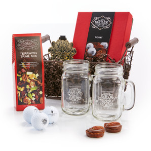 Basket Includes: FORE! Gift Set, TERRAPIN TRAIL MIX Eight Ounces, Whistling Straits Bag Tag and Two Whistling Straits Glass Mugs.