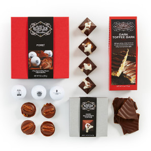 Basket Includes: FORE! Gift Set, DARK MOUNTAIN TOFFEE Four Pieces and DARK TOFFEE BARK Four Ounces.