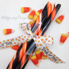 """Trick or Treat Ribbon with candy corn on 5/8"""" white single face satin ribbon, 10 Yards"""