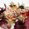 """Fall Ribbon Leaves and Pumpkins on 7/8"""" Antique white Single Face Satin Ribbon, 10 Yards"""