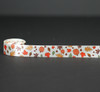"""Fall Leaves and pumpkins on 7/8"""" Antique white single face satin ribbon"""