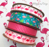 "Flamingo Ribbon on 5/8"" Light Pink Single Face Satin, 10 yards"