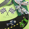 "Vintage Race Car Ribbon with a striped background on 5/8"" white single face satin, 10 Yards"