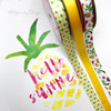 "Pineapple Ribbon, Yellow and Green on 5/8"" white single face satin, 10 Yards"