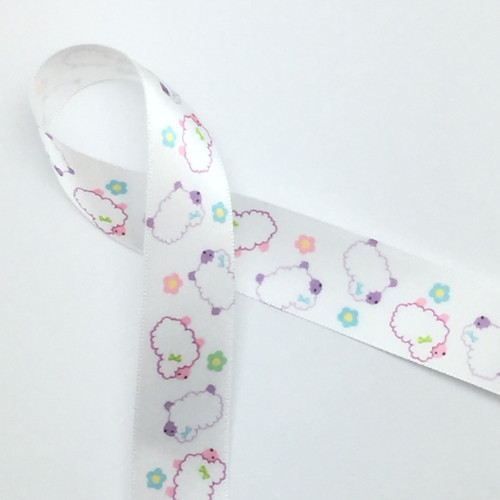 """Our tossed lambs or sheep printed on 7/8"""" white satin make a fun addition to a baby shower,  or Easter themed party!"""