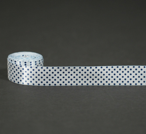 "Navy Pin Dots on White 7/8"" single face satin ribbon"