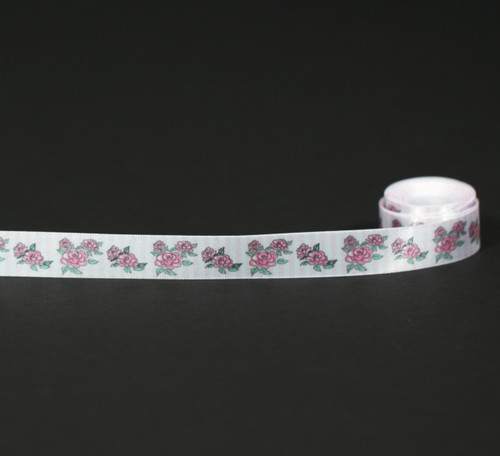 "Pink roses on pink and white stripe 5/8"" ribbon"