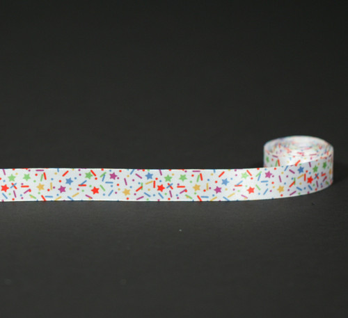 "Sprinkles on 5/8"" single face satin ribbon."