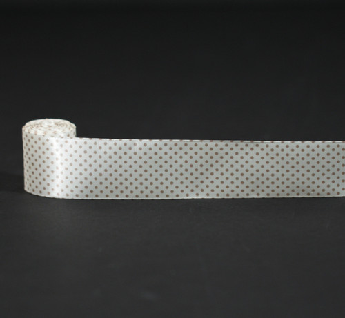 """Pin Dots in champagne on 1.5"""" antique white ribbon"""