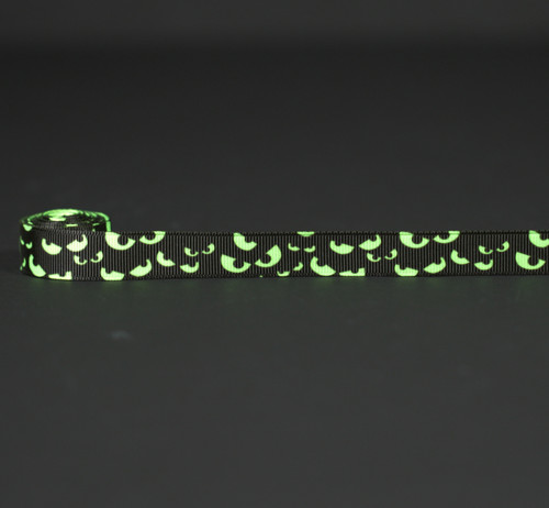 "Spooky eyes in neon green on a black background printed on 5/8"" neon green ribbon, 10 Yards"