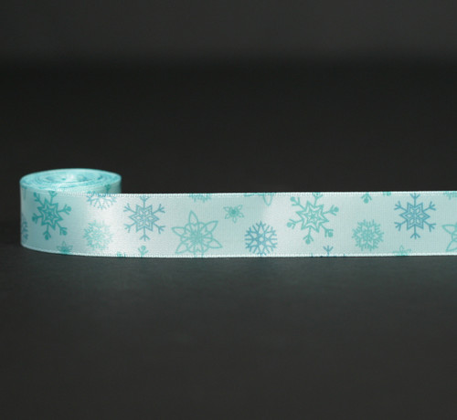 "Snowflakes in medium blue on Icy Blue 7/8"" Single Face Satin Ribbon, 10 Yards"