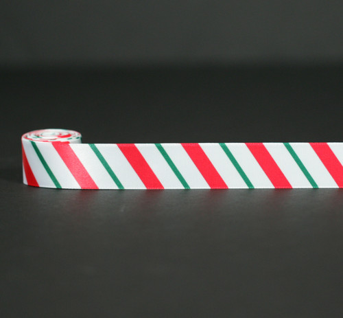 "Candy Cane Stripes in red and green on 7/8"" White single face satin ribbon, 10 Yards"