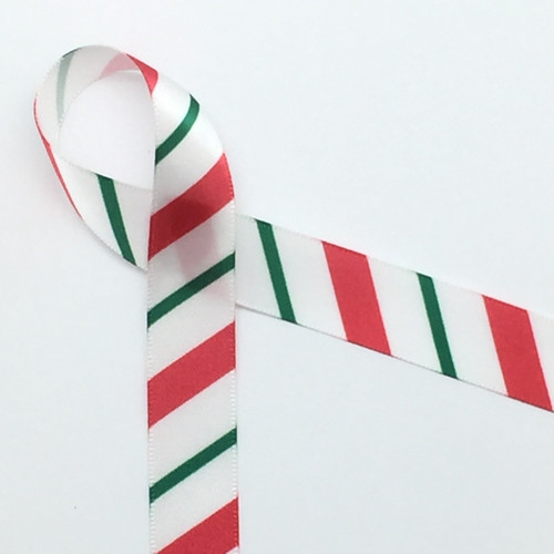 "Candy cane stripes in red and green on 5/8"" white single face satin ribbon,  10 Yards"