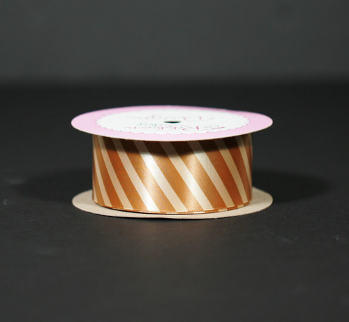 "Caramel rep stripes on 1.5"" gold single face satin ribbon, 10 yards"