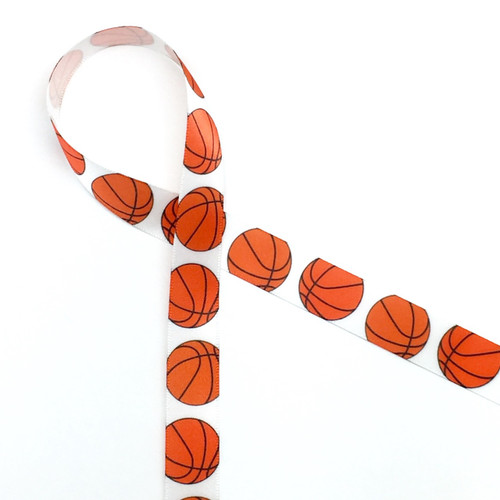"Basketballs bouncing along on a  5/8"" white single face satin makes an ideal tie for your basketball or sports themed party!"