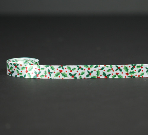"Holly leaves of green with red berries on 5/8"" white single face satin ribbon, 10 Yards"