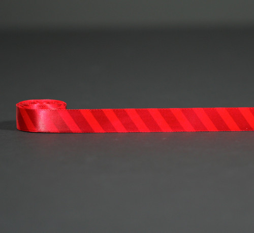 "Red stripes on 5/8"" Red Single Face Satin ribbon, 10 Yards"