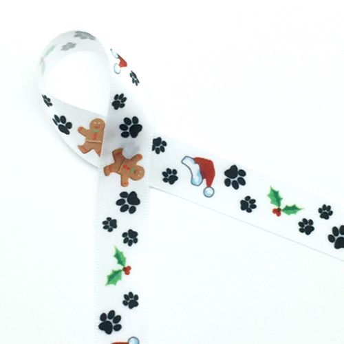 """Paw prints in black with Santa hats, Holly, and Gingerbread men on 5/8"""" Single face satin ribbon,10 Yards"""