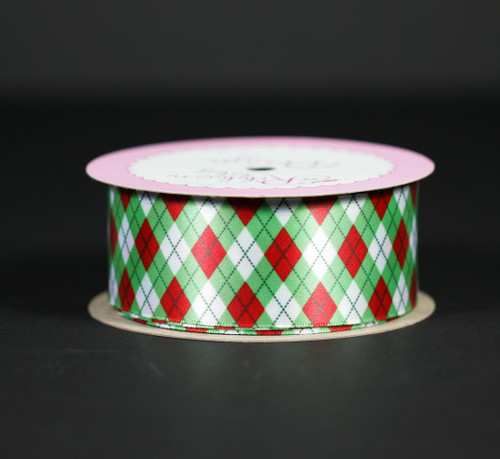 "Christmas argyle in red and green on 1.5"" white single face satin ribbon, 10 Yards"