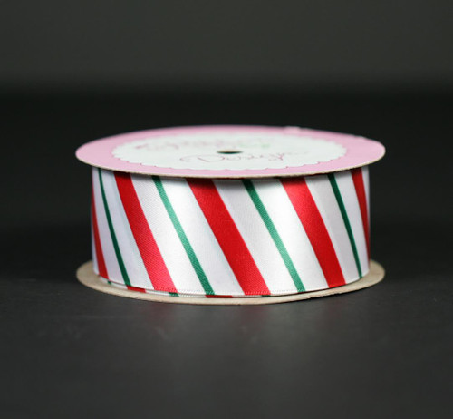 "Candy Cane stripes in red and green on 1.5"" white single face satin ribbon"