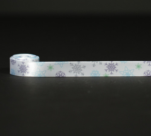 "Snowflakes Ribbon in blue, gray and green on  5/8""white single face satin, 10 Yards"