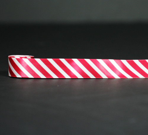 "Red stripes on 7/8"" Antique white Single face Satin ribbon, 10 yards"