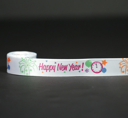 """Happy New Year with a clock and balloons on 7/8"""" white single face satin ribbon, 10 Yards"""